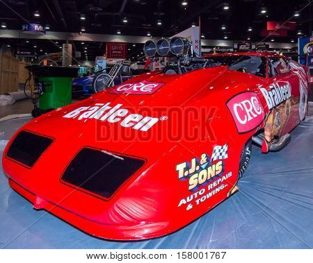 LAS VEGAS NV/USA - OCTOBER 31 2016: Customized Dodge Daytona dragster at the Specialty Equipment Market Association (SEMA) 50th Anniversary auto trade show. Builder: Pete Farber Racing Booth: CRC Brakleen