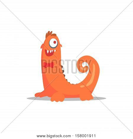 Orange MonsterIn Bow Tie With Curled Tail Partying Hard As A Guest At Glamorous Posh Party Vector Illustration Part Of The Funny Alien Animal Cartoon Characters At The Celebration Collection.