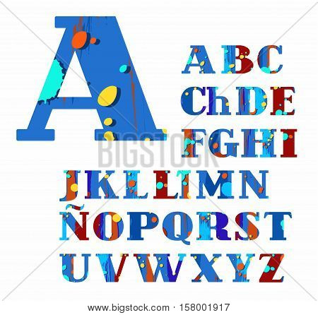 Spanish alphabet, spots and stripes, vector font, color, blue, brown. Blue, uppercase letters of the Spanish alphabet with brown stripes and yellow and blue spots. Letters with serifs.