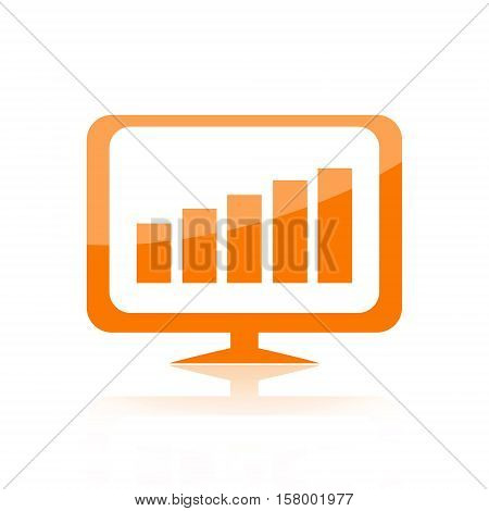 Business growth charts on computer monitor isolated on white background