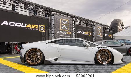 LAS VEGAS NV/USA - NOVEMBER 1 2016: Customized Lamborghini Huracan car at the Specialty Equipment Market Association (SEMA) 50th Anniversary auto trade show. Booth: AccuAir Suspension