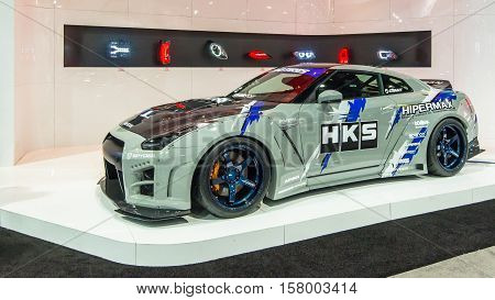LAS VEGAS NV/USA - NOVEMBER 1 2016: Customized Nissan GT-R car at the Specialty Equipment Market Association (SEMA) 50th Anniversary auto trade show. Booth: HKS