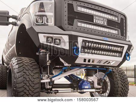 LAS VEGAS NV/USA - NOVEMBER 1 2016: Close up of a lifted truck at the Specialty Equipment Market Association (SEMA) 50th Anniversary auto trade show. Exhibit: American Force Wheels