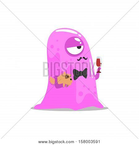 Snobbish Pink Blob Jelly Moster With Moustache And Pet Dog Drinking Wine Partying Hard As A Guest At Glamorous Posh Party Vector Illustration Part Of The Funny Alien Animal Cartoon Characters At The Celebration Collection.
