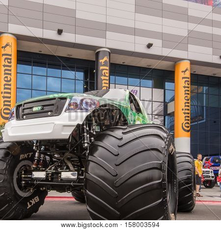 LAS VEGAS NV/USA - NOVEMBER 1 2016: Customized Ford monster truck at the Specialty Equipment Market Association (SEMA) 50th Anniversary auto trade show. Builder: Feld Motor Sports Exhibit: BKT