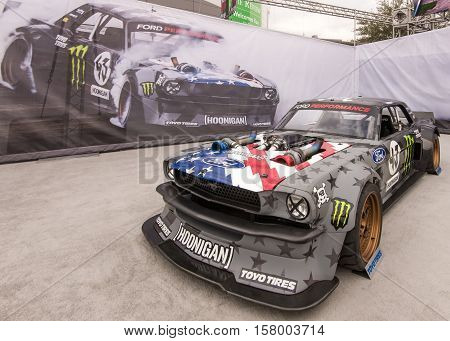 LAS VEGAS NV/USA - NOVEMBER 1 2016: Customized 1965 Ford Mustang Gymkhana 7 car at the Specialty Equipment Market Association (SEMA) 50th Anniversary auto trade show. Driver: Ken Block Builder: Hoonigan Racing