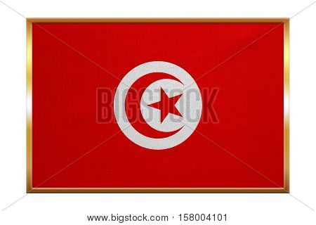 Tunisian national official flag. African patriotic symbol banner element background. Correct colors. Flag of Tunisia golden frame fabric texture illustration. Accurate size color