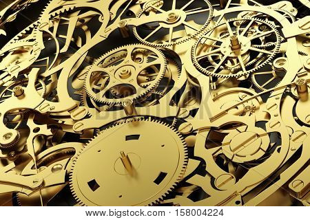 Gold mechanism, clockwork with working gears. Close-up, detailed. 3D rendering