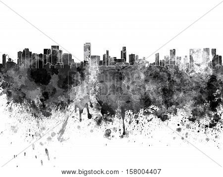 Honolulu Skyline In Black Watercolor On White Background