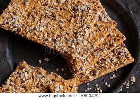 Spelt and muesli whole meal crackers or crispbread a healthy crunchy organic snack