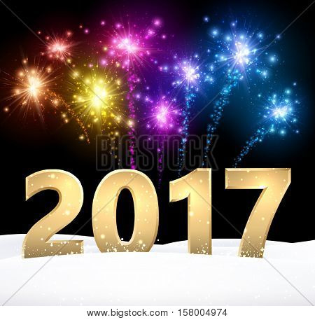 Golden 2017 New Year background with colorful fireworks. Vector illustration.
