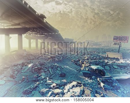 The nuclear winter. Apocalyptic landscape.3d illustration concept
