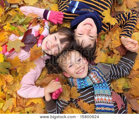 Three siblings laying in autumn leaves.