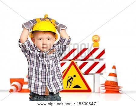 traffic barrier 3d and handyman child