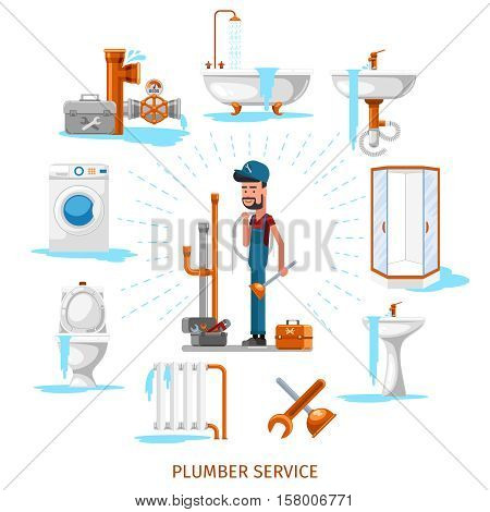 Plumber or maintenance engineer at plumbing work. Service repair, vector illustration