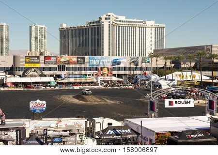 LAS VEGAS NV/USA - NOVEMBER 3 2016: Drift track at the Specialty Equipment Market Association (SEMA) 50th Anniversary auto trade show held at the Las Vegas Convention Center.