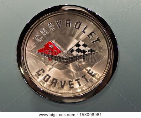 LAS VEGAS NV/USA - NOVEMBER 2 2016: Close-up of a Chevrolet Corvette emblem at the Specialty Equipment Market Association (SEMA) 50th Anniversary auto trade show.