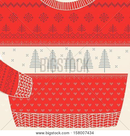 Christmas Ornamental Sweater Card - Ugly Party Sweater - in vector