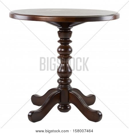 Brown wooden round table isolated on white background. Studio shot