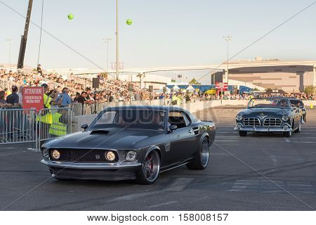LAS VEGAS NV/USA - NOVEMBER 4 2016: A customized 1969 Ford Mustang car at the Specialty Equipment Market Association (SEMA) 50th Anniversary auto trade show parade.