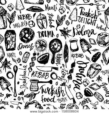 Turkish food hand drawn seamless pattern with lettering and beverages with Kebab, Dolma, Shakshuka. Freehand vector doodles isolated on white background.