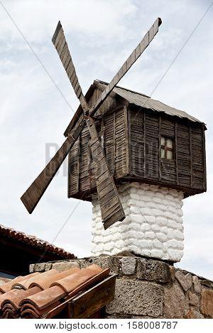 Small windmill - Sozopol is one of popular seaside resorts in Bulgaria.