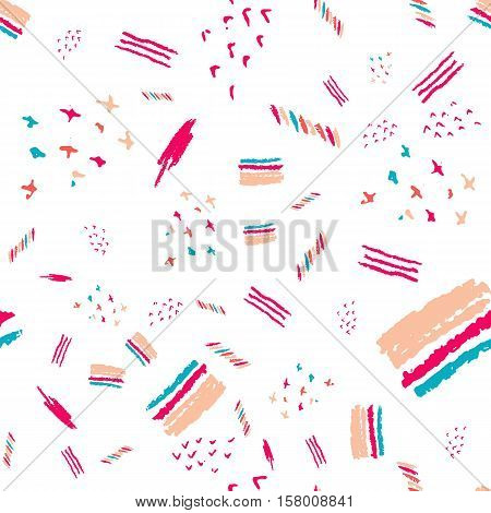Vector boho pattern with narrow lines in trendy colors. Hand drawn Creative Print texture for modern fashion and sportswear. EPS10