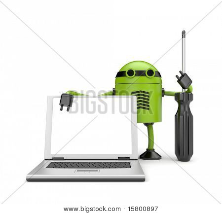 Robot with notebook