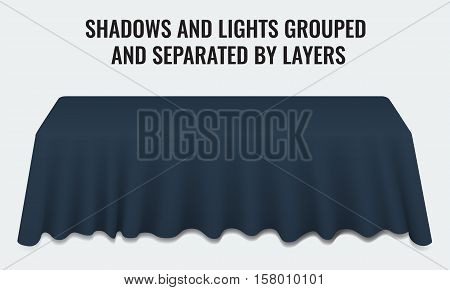 Empty dinner banquet table with dark blue cloth 3d realistic desk vector illustration. Shadows and lights grouped by layers.
