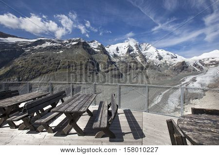 High mountain terrace with cafe bistro and wonderful view in a sunny day.