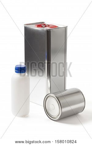 Three different kind and sizes cans for paint and chemical products on white with clipping path.