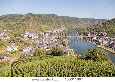 Cochem city with river Mosel in Germany.