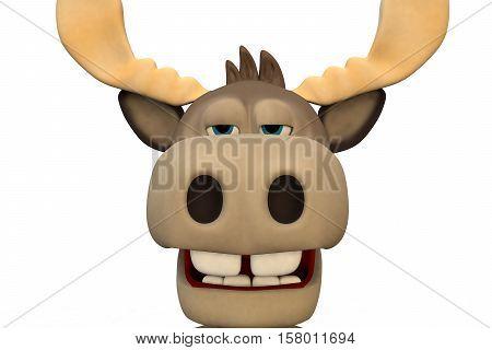 Cute bored moose cartoon animal 3d illustration rendering