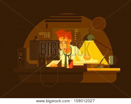 Tired man working on computer late at night. Vector illustration