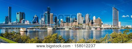 BRISBANE, AUSTRALIA, SEPT 13 2016:View of Brisbane from South Bank over the river. Brisbane is the capital of QLD and the third largest city in Australia.