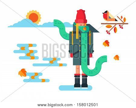 Girl in coat. Female fashion, young person, beauty and pretty, flat vector illustration
