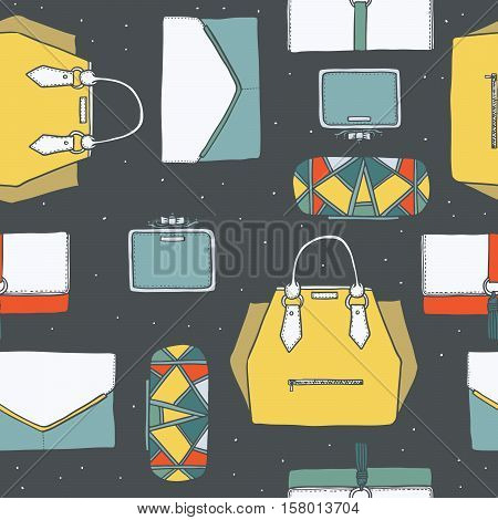 Seamless vector illustration with cute yellow purple and grey handbags and clutches in fashion stylish pattern. Hand drawn background drawn with imperfections on dark grey dotted background