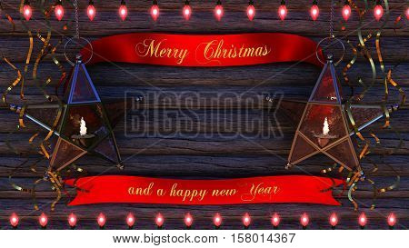 This image is a Christmas background. The picture shows a Christmas background with a lettering Merry Christmas and a happy new Year. It can be used as a Christmas card.