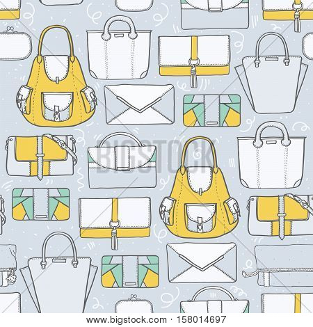 Seamless vector illustration with cute yellow and grey handbags and clutches in fashion stylish pattern. Hand drawn background drawn with imperfections on grey background