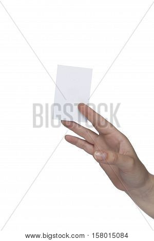 Hand Shows A Plain White Card, Copy Space For Ad Text