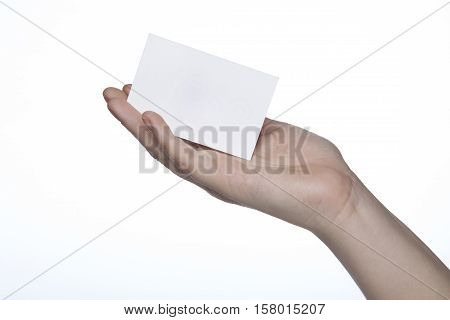 Business Card Shown On The Hand, Place A Note