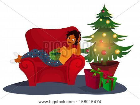 Christmas interior with an elegant red sofa. Comfort home. . Christmas tree with presents . Young adult african woman opens gift. vector concept illustration. xmas eve