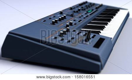 This is an image of a Synthesizer / Keyboard. The picture was taken in close-up.