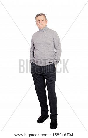 Senior Man Businessman wearing Roll Neck Jumper In Grey Isolated on White Background