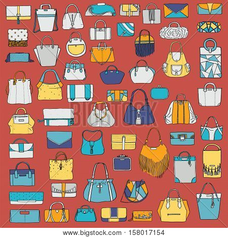 Large vector set of colorful doodle fashion bags hand drawn with black ink isolated on red background. Illustration with group of various handbag purse pouch satchel clutch bag.