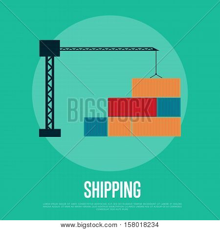 Shipping banner with freight crane isolated vector illustration in flat design. Cargo crane loading container icon. Industrial freight port, container terminal, logistics and transportation, delivery