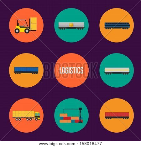 Logistics and transportation icon set vector illustration. Freight crane shipping container, forklift truck with boxes, cargo train, container truck round icons. World logistics and delivery concept