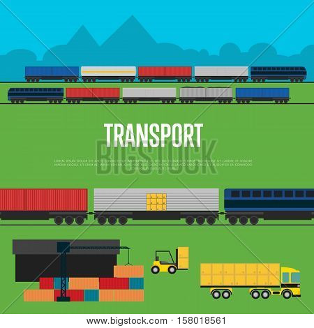 Transport banner with freight train vector illustration. Container truck, freight crane, railway cargo train and forklift truck in flat design. World import and export transportation business concept