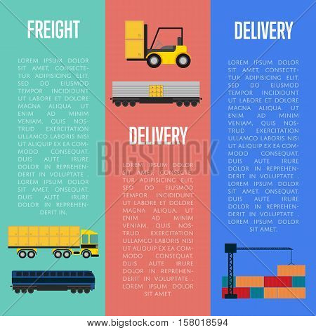 Freight and delivery flyers set isolated vector illustration. Transportation templates with cargo crane, freight container truck and forklift truck with boxes. Delivery company business concept