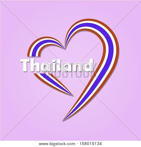 Vector of heart icon thailand national flag color on pink background